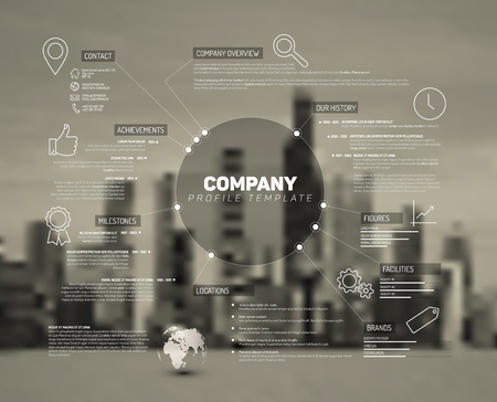 Illustration pour Company infographic overview design template with city photo in the back - image libre de droit
