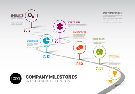 Ilustración de Vector Infographic Company Milestones Timeline Template with pointers on a curved road line - Imagen libre de derechos