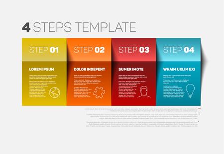 Ilustración de One two three four - vector paper progress steps template with descriptions and icons - Imagen libre de derechos