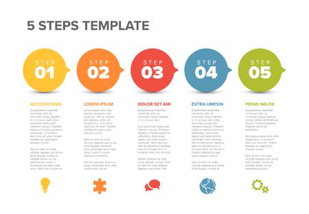 Ilustración de Vector five steps progress template with descriptions and icons - Imagen libre de derechos