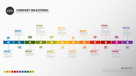 Ilustración de Full year timeline template with all months on a horizontal time line - Imagen libre de derechos