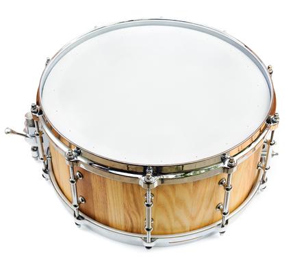 Foto de New wooden share drum isolated on white - Imagen libre de derechos