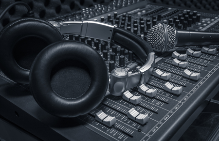 Photo for microphone,headphone,sound mixer background. - Royalty Free Image