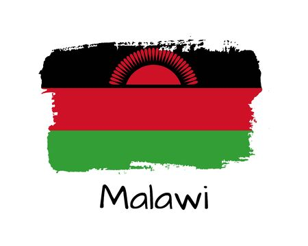 Illustration pour Isolated Hand draw Malawi flag with sun. Vector Illustration. National Malawi  banner for design on white background - image libre de droit