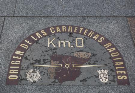Photo pour Detail of kilometre zero point in Puerta del Sol, Madrid, Spain - image libre de droit