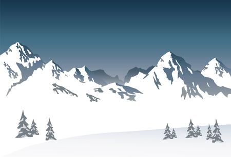 Snowy mountain - vector