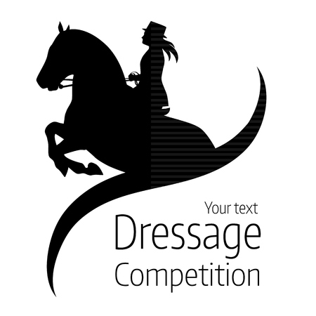 Ilustración de Equestrian dressage competitions - vector illustration of horse - Imagen libre de derechos