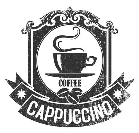 Ilustración de The vector image of Rubber stamp of brown color with a cup of coffee and grains - Imagen libre de derechos