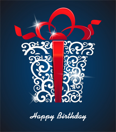 Illustrazione per The vector image of Greeting card Happy Birthday. with gift box and place for your text. vector - Immagini Royalty Free