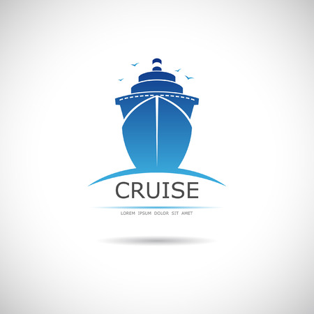 Illustration pour The vector image of Label with sea cruise liner - image libre de droit