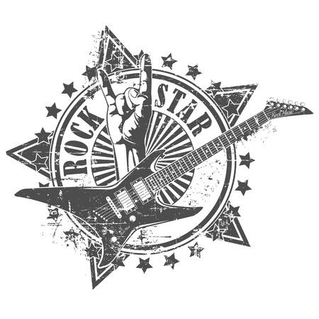 Illustration pour The vector image of Rock star stamp - image libre de droit