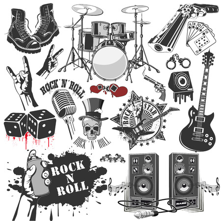Illustration pour The vector image of  set of vector symbols related to rock and roll - image libre de droit