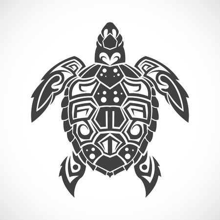 Illustration pour The image of Turtle in a tribal on a white background. - image libre de droit
