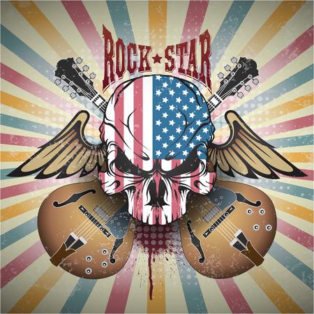 Illustration pour The image of Creative picture of a skull. Rock star - image libre de droit