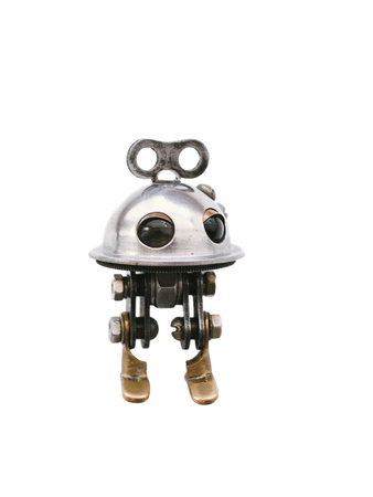 Photo pour Steampunk robot, steel and chrome details, isolated on a white background - image libre de droit