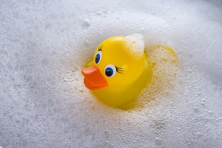 Photo for Yellow rubber duck floating in soap suds - Royalty Free Image
