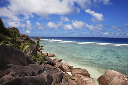 Photo for anse source d'argent beach in la digue in seychelles island - Royalty Free Image