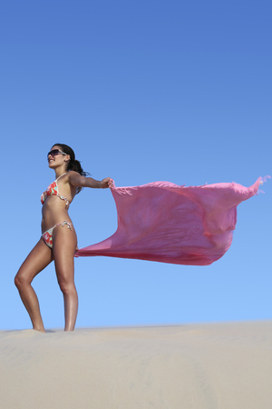 Foto per beautiful smiling bikini dressed young brazilian  woman in the wind of the sand dune of jericoacoara ceara state near fortaleza floating his sarong - Immagine Royalty Free