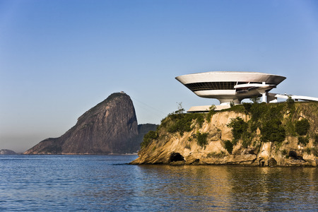 Photo for Museum of contemporary art in niteroi near rio de janeiro in brazil - Royalty Free Image