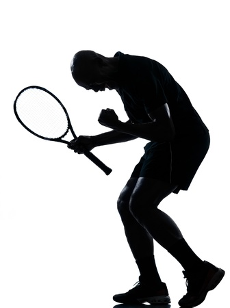 man african afro american playing tennis player man tennis player victory sucess happy screaming on studio isolated on white background