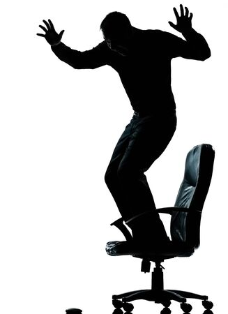 Photo for one caucasian business man afraid of computer mouse silhouette Full length in studio isolated on white background - Royalty Free Image