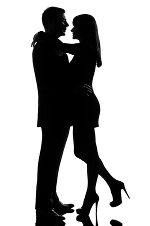 Photo for one caucasian lovers couple man and woman hugging tenderness in studio silhouette isolated on white background - Royalty Free Image