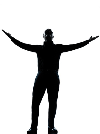 Photo for one caucasian business man happy arms outstretched silhouette Full length in studio isolated on white background - Royalty Free Image