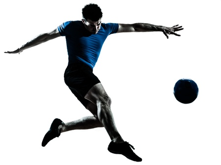 Photo for one caucasian man flying kicking playing soccer football player silhouette  in studio isolated on white background - Royalty Free Image
