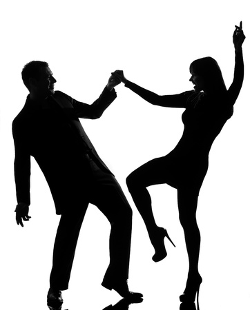 Photo for one caucasian couple man and woman dancing rock in studio silhouette isolated on white background - Royalty Free Image