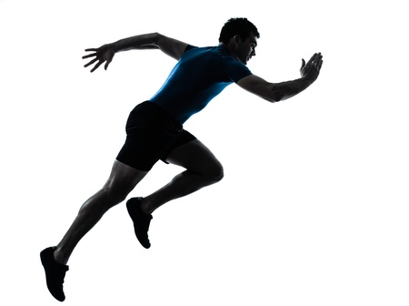 Photo for one caucasian man runner running sprinter sprinting  in silhouette studio  isolated on white background - Royalty Free Image
