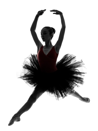 Photo for one caucasian young woman ballerina ballet dancer dancing with tutu in silhouette studio on white background - Royalty Free Image