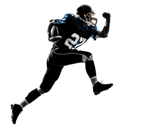 Photo for one caucasian american football player man running   in silhouette studio isolated on white background - Royalty Free Image