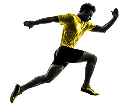 Photo for one caucasian man young sprinter runner running  in silhouette studio  on white background - Royalty Free Image