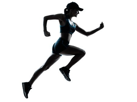Photo for one caucasian woman runner jogger in silhouette studio isolated on white background - Royalty Free Image