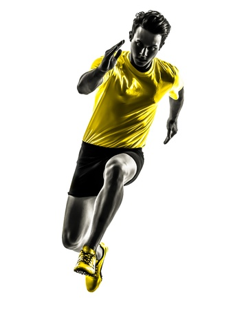 Photo pour one caucasian man young sprinter runner running  in silhouette studio  on white background - image libre de droit
