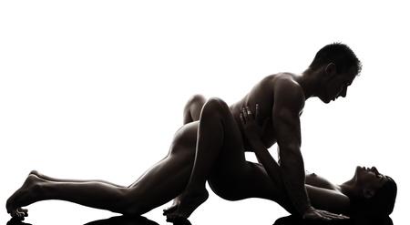 Photo pour one caucasian couple man woman sexual kamasutra posture love activity  in silhouette studio on white background - image libre de droit