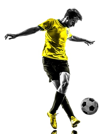 Photo for one brazilian soccer football player young man in silhouette studio  on white background - Royalty Free Image