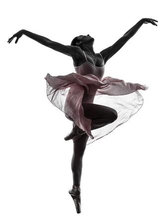Photo pour one  woman   ballerina ballet dancer dancing in silhouette on white background - image libre de droit