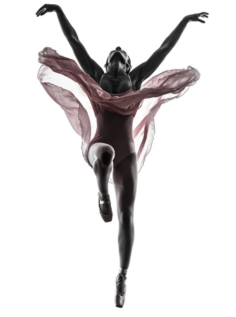 Photo for one  woman   ballerina ballet dancer dancing in silhouette on white background - Royalty Free Image