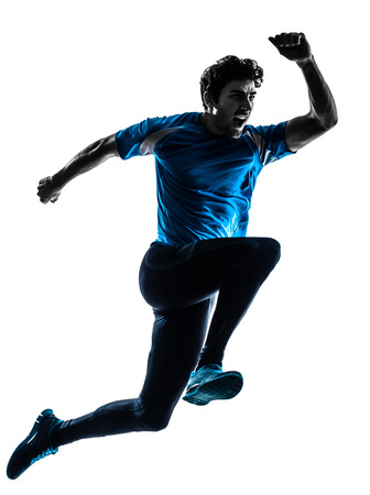 Photo for one caucasian man  running sprinting jogging shouting  in silhouette studio isolated on white background - Royalty Free Image
