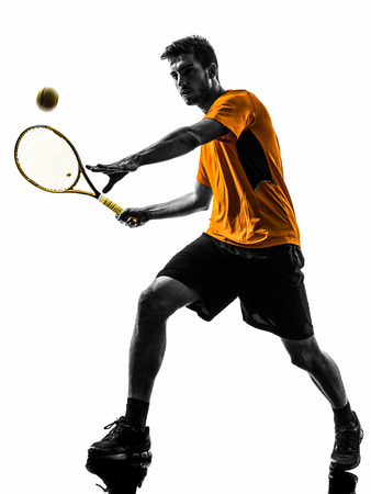 Photo pour one  man tennis player in silhouette on white background - image libre de droit