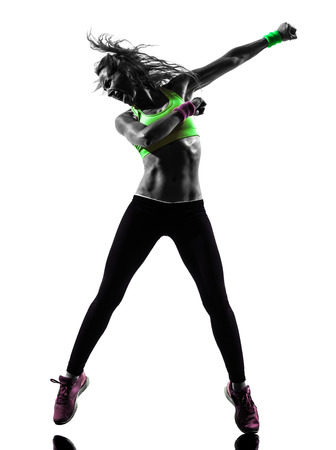Foto für one caucasian woman exercising fitness zumba dancing  in silhouette  on white background - Lizenzfreies Bild