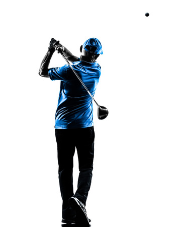 Photo for one man golfer golfing golf swing in silhouette studio isolated on white background - Royalty Free Image