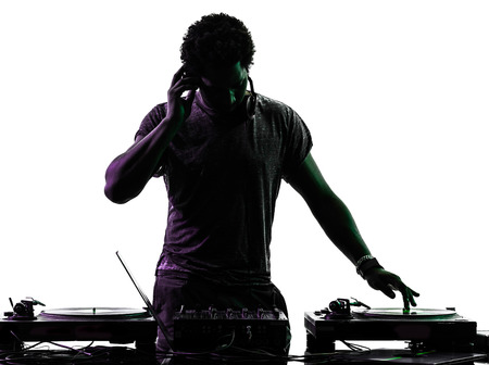 Photo for one disc jockey man in silhouette  on white background - Royalty Free Image