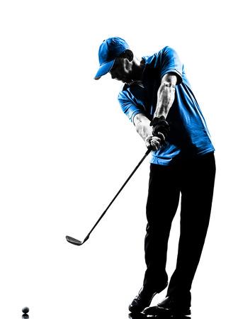 Foto de one man golfer golfing golf swing in silhouette studio isolated on white background - Imagen libre de derechos