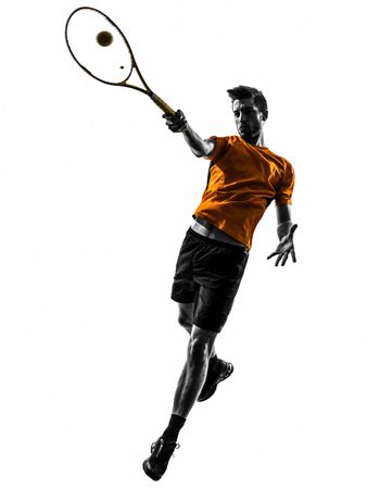 Photo for one  man tennis player in silhouette on white background - Royalty Free Image