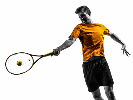 Photo for one man tennis player portrait  in silhouette on white background - Royalty Free Image