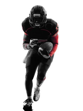 Foto de one  american football player runner running  in silhouette shadow on white background - Imagen libre de derechos
