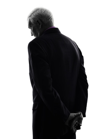 Photo for One Caucasian senior business man sad rear view silhouette White Background - Royalty Free Image