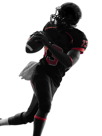Photo for one american football player quarterback portrait in silhouette shadow on white background - Royalty Free Image